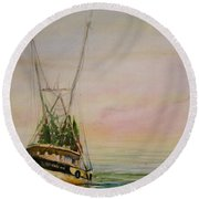 Shrimping Round Beach Towel