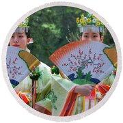 Shrine Maidens From Tsurugaoka Hachimangu Shrine Round Beach Towel