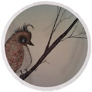 Shy Bird Round Beach Towel