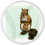 Shy Squirrel Round Beach Towel