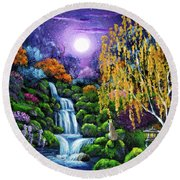 Siamese Cat By A Cascading Waterfall Round Beach Towel