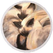 Siamese Lovers Round Beach Towel