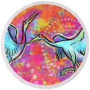Siberian Cranes Round Beach Towel