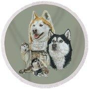 Siberian Husky Round Beach Towel