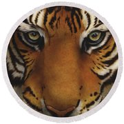 Siberian Tiger I Round Beach Towel