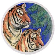 Siberian Tiger Round Beach Towel