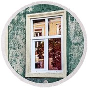 Sibiu Window Reflections - Romania Round Beach Towel