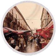Sicilian Market After The Rain Round Beach Towel