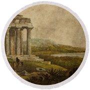Sicilian Scenery 1823 Round Beach Towel