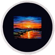 Sicily - Harbor Of Syracuse Round Beach Towel