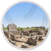 Side Ancient Shop Ruins Round Beach Towel