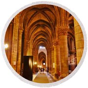 Side Hall Notre Dame Cathedral - Paris Round Beach Towel