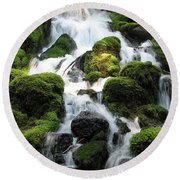 Side Of Clearwater Falls Round Beach Towel