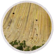 Side Of Devils Tower Round Beach Towel