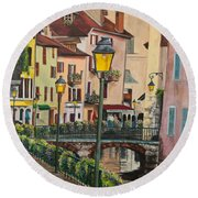 Side Streets In Annecy Round Beach Towel