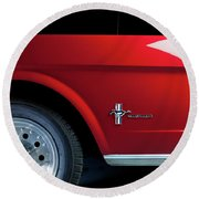 Side View Of 1964 Ford Mustang Round Beach Towel
