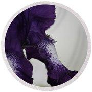 Side View Purple And White Iris Round Beach Towel