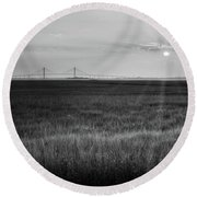 Sidney Lanier At Sunset In Black And White Round Beach Towel