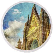 Siena Duomo Facade In The Sunset Round Beach Towel