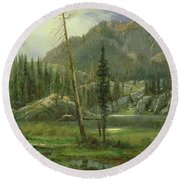 Sierra Nevada Mountains Round Beach Towel