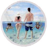 Siesta Beach Resort And Spa Mural Round Beach Towel