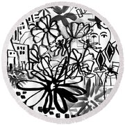 Sightseeing 2- Art By Linda Woods Round Beach Towel