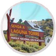 Trail Sign To Laguna Torre Round Beach Towel