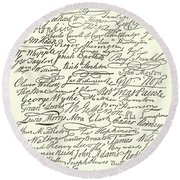 Signatures To The Declaration Of Independence Round Beach Towel