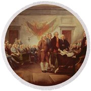 Signing The Declaration Of Independence Round Beach Towel by John Trumbull