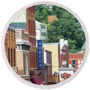 Signs And Historic Buildings Round Beach Towel