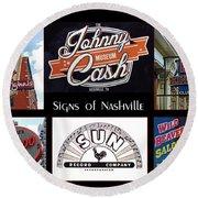 Signs Of Nashville Round Beach Towel
