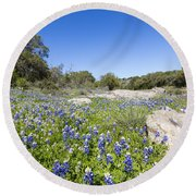 Signs Of Spring In Texas Round Beach Towel