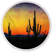 Sihouette Sunrise In The Sonoran Round Beach Towel