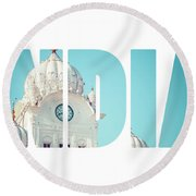 Sikh Gurdwara Golden Temple Round Beach Towel