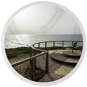 Silence And Solitude - A Special Sunset Throne High Above The Ocean Round Beach Towel
