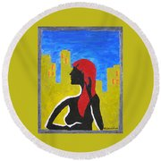 Silence In The City Round Beach Towel