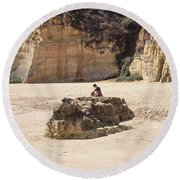 Silence Is Golden Round Beach Towel