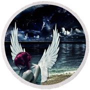 Silence Of An Angel Round Beach Towel by Mo T