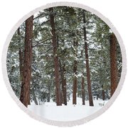 Silence Of The Woods Round Beach Towel