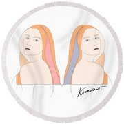 Silent Eve Mirror- Beautiful Woman Portrait Minimalist Drawing Round Beach Towel
