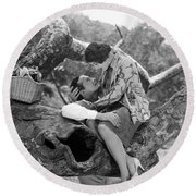 Silent Film Still: Picnic Round Beach Towel