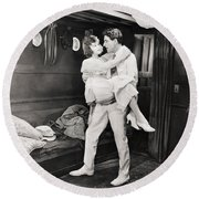 Silent Film Still: Ships Round Beach Towel
