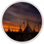Silent Teepees Round Beach Towel