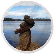 Silent Watch - Inukshuk On Boulder At Long Lake Hiking Trail Round Beach Towel