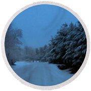 Silent Winter Night  Round Beach Towel