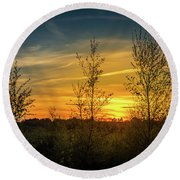 Silhouette By Sunset Round Beach Towel