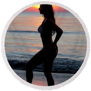 Silhouette Of A Fit Woman In Bikini  Round Beach Towel