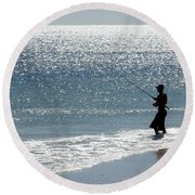 Silhouette Of A Man Fishing Round Beach Towel