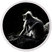Silhouette Of A Monkey Round Beach Towel
