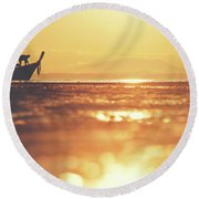 Silhouette Of A Thai Fisherman Wooden Boat Longtail During Beautiful Sunrise Round Beach Towel